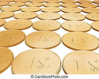 gold 1$ coin carpet vector on white