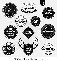 Retro labels - Set of vintage retro premium quality badges...