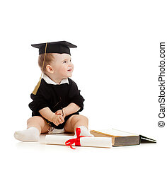 Baby in academician's clothes with roll and book - Baby in...