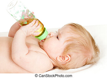 adorable child drinking from bottle 6 months old girl