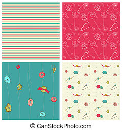 Set of 4 seamless backgrounds - Sewing kit design elements...