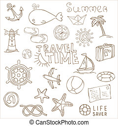 Summer holiday doodle collection
