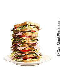 Oversized sandwich isolated on white background