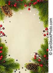 christmas vintage frame with fir and Holly berry