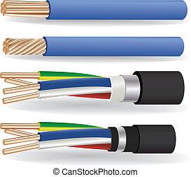 eléctrico, cobre, cables