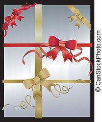 Gold and red vector bows and ribbons