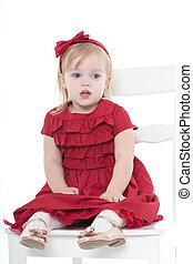 charming little girl an elegant dress