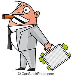 hombre de negocios, dinero, maleta