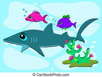 Shark and Two Fish Friends