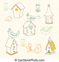 Birds and Bird Houses doodles - for design and scrapbook