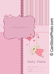 Baby Girl Arrival Card with Photo Frame and place for your...