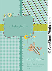 Baby Boy Arrival Card with Photo Frame and place for your text in vector