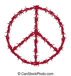 barbed wired peace - vector illustration of peace symbol...
