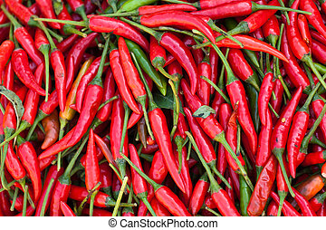 Red chillies - lots of fresh red chillies