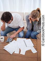 Portrait of a young couple doing their accounting in their...