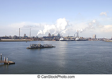 Heavy industry in the harbor of IJmuiden in the Netherlands