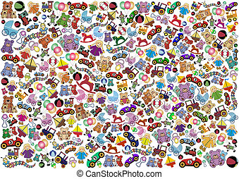 Toys Background - Background out of many little colorful...