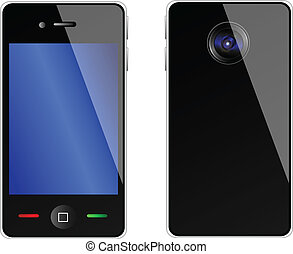 Vector mobile phone from front and back side