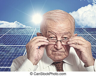 new technology - 3d image of classic solar panel and old man...