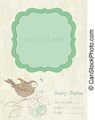 Baby Boy Arrival Card with Photo Frame and place for your text
