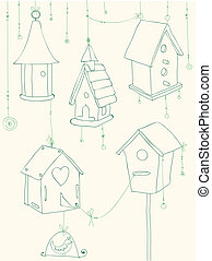 Greeting Card with Birds and Bird Houses doodles - for design and scrapbook