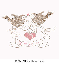Birds in Love - beautiful card with place for your text