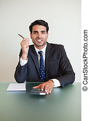 Portrait of a businessman working