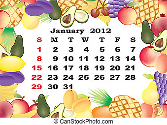 January - monthly calendar 2012 in colorful frame