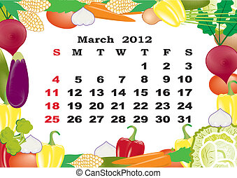 March- monthly calendar 2012 in colorful frame