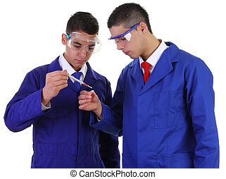 Two scientists doing experiments