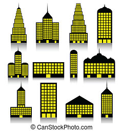 Building icons set - Illustration of silhouette of the...