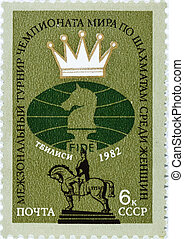 postage stamp dedicated to the World Chess Championship -...