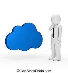 Businessman blue cloud