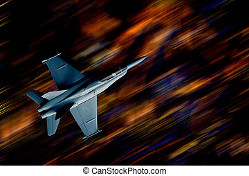 Fighter plane flying over the city at night