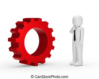 Business man red mechanical gear