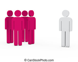 business team leader pink - 3d business team white success...