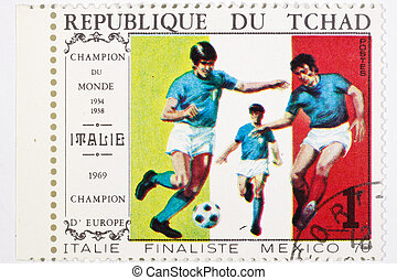 postage stamp dedicated to football, Italie 1969