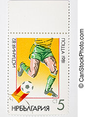 postage stamp dedicated to football - postage stamp...
