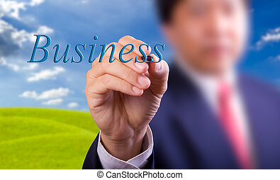 business man writing business word