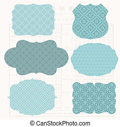 Vintage Design elements for scrapbook - Old tags and frames