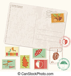 Vector autumn Postcard with stamps - with set of beautiful autumn-related rubber and postage stamps