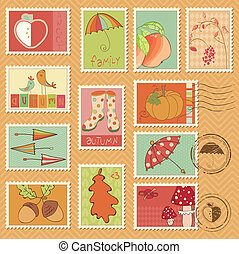 Vector autumn stamps - set of beautiful autumn-related rubber and postage stamps