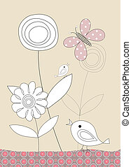 Pretty birds,  butterflies and flowers, childrens illustration