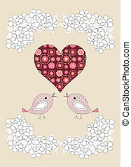 Pretty birds,  flowers and a heart, childrens illustration