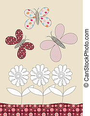 Pretty butterflies and flowers childrens illustration -...