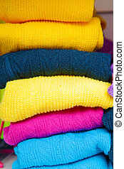 pile of bright colored tights for children