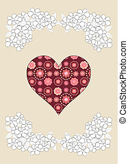 Simple red heart on beige background, illustration