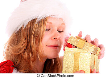 Miss Santa is Sneaking a Peek at a Golden Gift Box - miss...