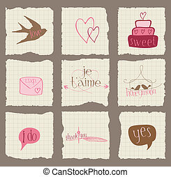 Paper Love and Wedding Design Elements -for invitation, scrapbook in vector