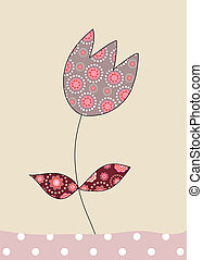 A lovely tulip on beige background, illustration